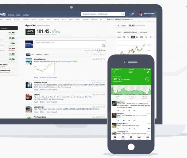 Die App von Stocktwits gibt unter anderem einen Überblick dazu, was institutionelle Anleger zu bestimmten Unternehmen und Wertpapieren twittern. (Screenshot: Stocktwits)