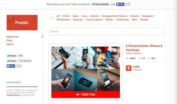 Psddd hilft bei der Suche nach kostenlosen Design-Ressourcen auf Dribbble. (Screenshot: Psddd.co)