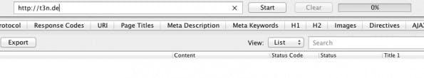 Sobald du eine URL hinterlegt und den Crawl gestartet hast, geht es los. (Screenshot: Screaming Frog/ t3n.de)