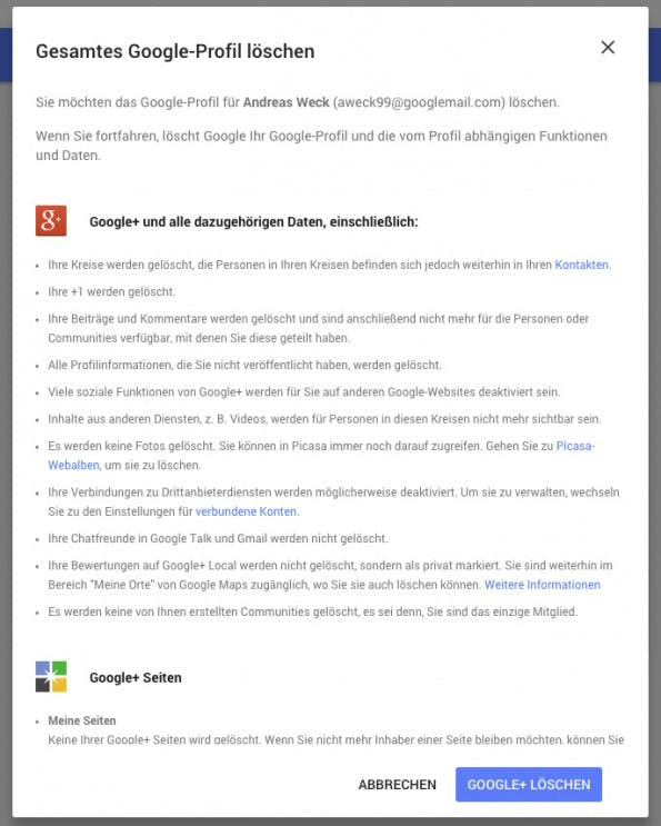 So löscht du Google+. (Screenshot: Andreas Weck)