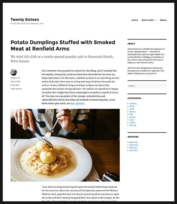 So sieht die Einzelansicht eines Beitrags in Twenty Sixteen aus. (Screenshot: WordPress.org)