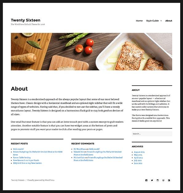 Eine Seite mit den zwei gefüllten Widget-Bereichen unter dem Inhalt und dem Header-Bild. (Screenshot: WordPress.org)