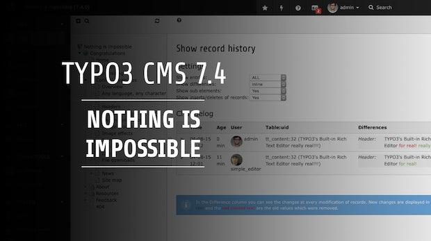 TYPO3 CMS 7.4: Besserer Upload und schöneres Backend