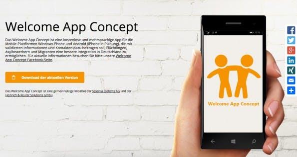 Welcome to Dresden: Flüchtlings-App soll Asylbewerbern und Migranten eine bessere Integration in Deutschland ermöglichen. (Screenshot: welcome-app-concept.de)