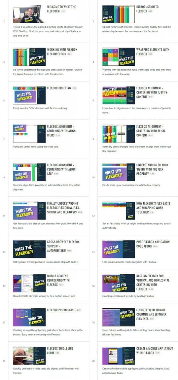 """""""What the Flexbox"""" besteht aus 20 einzelnen Teilen unterschiedlicher Länge (Screenshot: flexbox.io)"""
