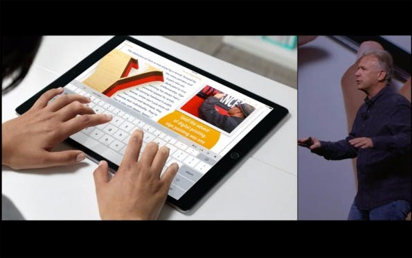 Das Apple iPad Pro bietet eine Display-Tastatur in voller Größe. (Quelle: Apple)