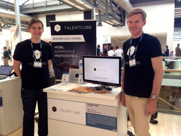 Talentcube präsentiert sich mit einem Stand beim Bits-and-Pretzels-Gründerfestival in München. (Foto: t3n)