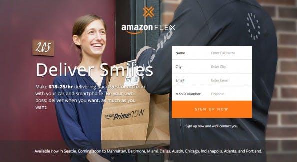 Amazon Flex: Das Unternehmen rekrutiert private Lieferfahrer aus der Nachbarschaft. (Screenshot: flex.amazon.com)