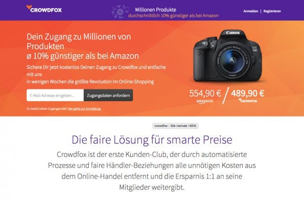 Crowdfox: Der Shopping-Club will günstiger als Amazon sein. (Screenshot: Crowdfox.com)