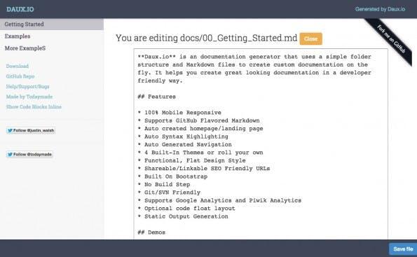 DAUX mit seinem Inline-Editor. (Screenshot: DAUX.IO)