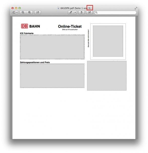 So sieht das Online-Ticket der Deutschen Bahn in der Druckvorschau auf dem Mac aus. Da vergisst man schon mal, dass das Ticket aus insgesamt drei Seiten umfasst. (Grafik: t3n)