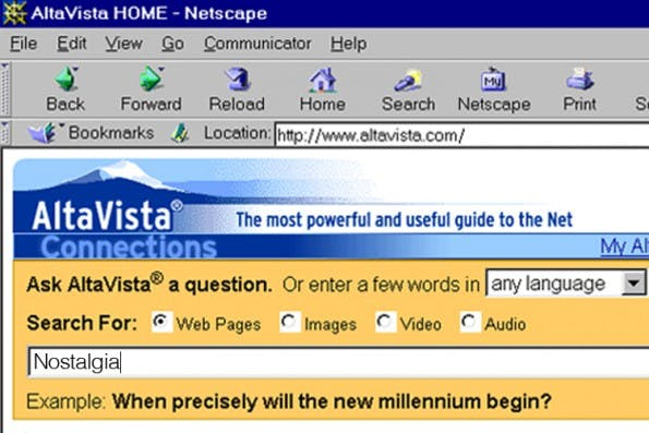 Damals™ war Google noch ein kleines Licht. Gesucht hat man mit AltaVista. (Screenshot: salon.com)