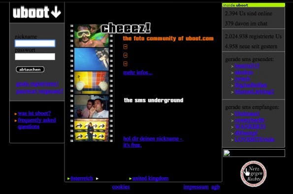 Abtauchen mit Uboot.com: Für viele Nutzer war die Plattform das erste soziale Netzwerk. (Screenshot: web.archive.org)