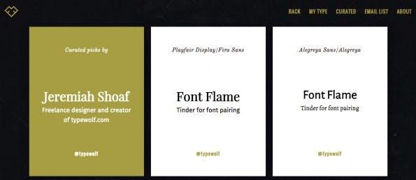 Font-Flame bietet auch einen Curated-Bereich an. (FontFlame.com)