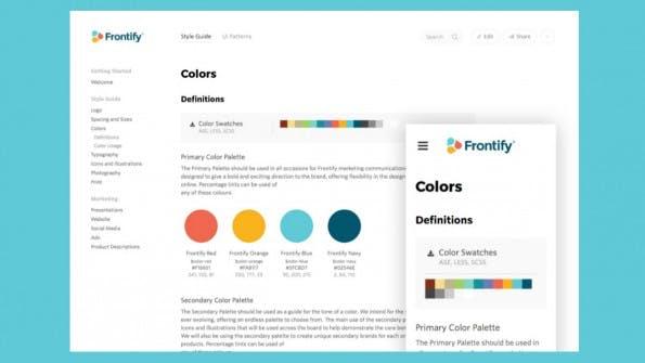 Frontify erstellt online ansprechende Styleguides. (Screenshot: t3n)