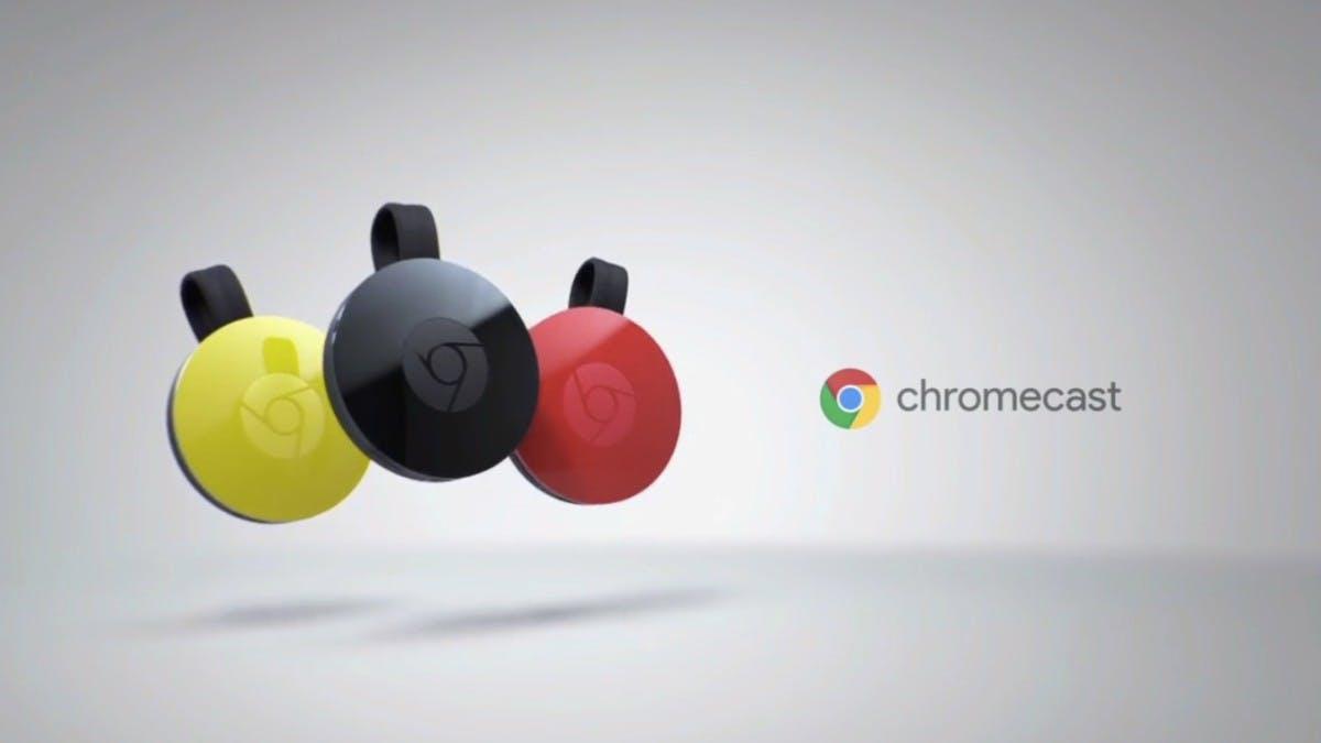 Neuer Chromecast-Dongle kommt in drei verschiedenen Farben. (Screenshot: YouTube)