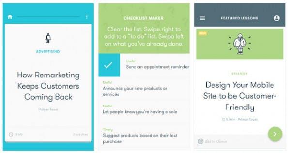 Google Primer 2.0: In kurzen Dosen die Grundlagen des Marketings erlernen. (Screenshot: Play-Store)