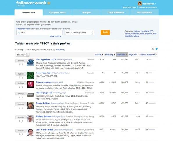 Das Moz-Tool Followerwonk dient ebenfalls der Influencer-Recherche. (Screenshot: Florian Hieß)