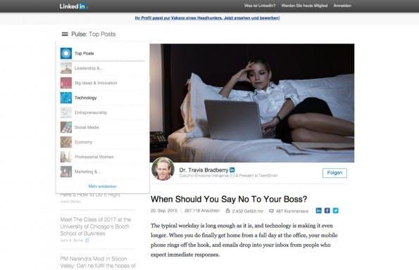LinkedIn Pulse: Das eigene News-Portal des Karriere-Netzwerks lässt sich nach Themenchanneln sortiert durchsuchen. (Screenshot: Linkedin)