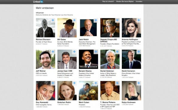 Noch sind die Top-Influencer bei LinkedIn Pulse alle englischsprachig – theoretisch können jetzt aber auch deutsche Meinungsbildner hier auftauchen. (Screenshot: LinkedIn)