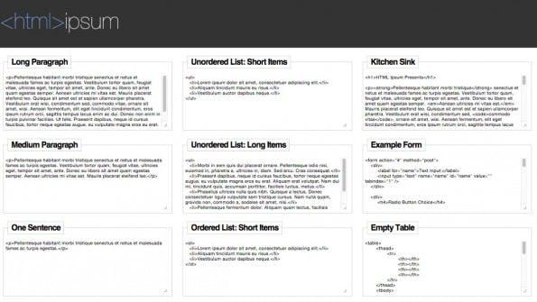 lorem ipsum html