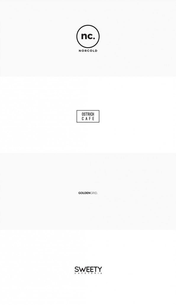 Minimal-Logo-Templates: Vier von 25 kostenlosen Exemplaren. (Grafik: Behance.net)