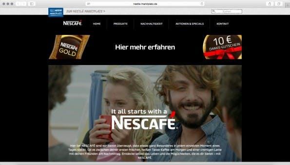 Nestlé will alle Nescafé-Seiten zu Tumblr umziehen. (Screenshot: nestle-marktplatz.de)