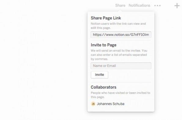 Das Share-Menü bietet Überblick über die Freigaben. (Screenshot: Notion)