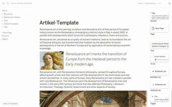 Links befinden sich die Seiten, in der Mitte der Editor und rechts die Elemente zur Text-Strukturierung. (Screenshot: Notion)