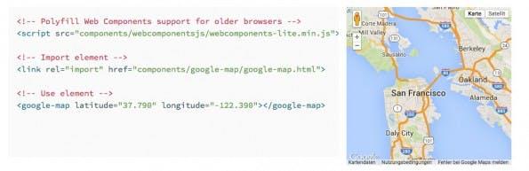 Mit Project Polymer und einem Custom-Element eine Google-Maps-Karte erzeugen. (Screenshot: Project Polymer)
