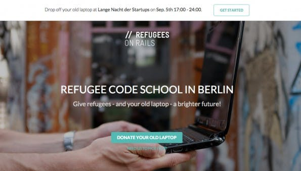 """Refugees on Rails"" will Flüchtlingen das Coden beibringen – mit Hilfe eurer gespendeter Laptops. (Screenshot: Refugees on Rails)"