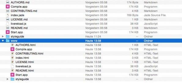 Der fertige Styleguide-Export mit dem www Ordner. (Screenshot: Mac)