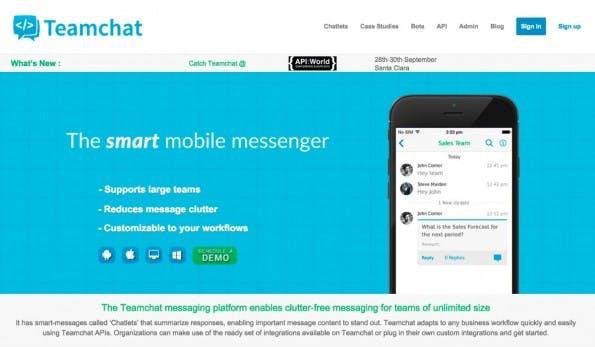 Smart-Messenger Teamchat: Dieser Büro-Messenger will Bots für euch arbeiten lassen. (Screenshot: Teamchat)