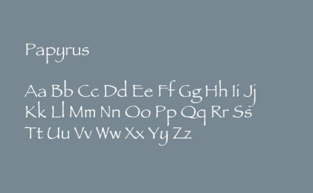 Die unbeliebtesten Schriftarten der Welt: Papyrus. (Grafik: t3n.de)