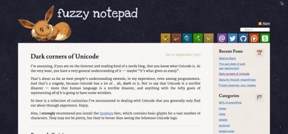 """Eevee befasst sich sehr ausführlich mit den """"dunklen Ecken in Unicode"""". (Screenshot: Eevees Blog)"""