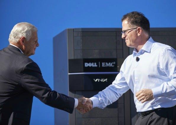 Der (bisher) größte der Tech-Deals: Michael Dell (rechts) schnappt sich EMC. (Bild: Dell)