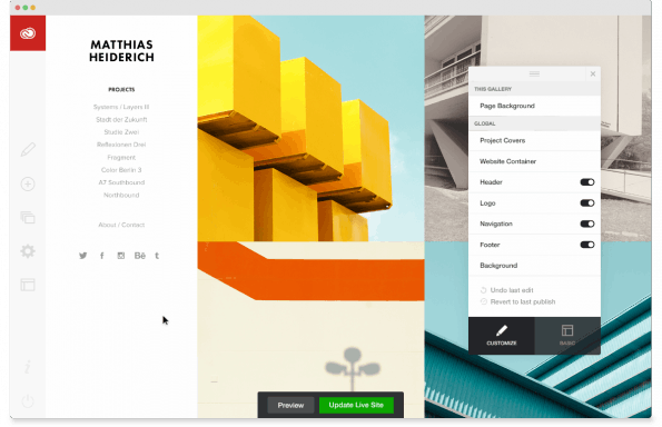 Der Gestaltungseditor von Adobe Portfolio. (Screenshot: Adobe)