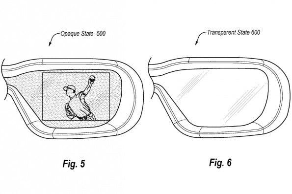 Video-Brille von Amazon: Umschalten zwischen Video- und Transparenz-Modus. (Bild: Amazon/USPTO)
