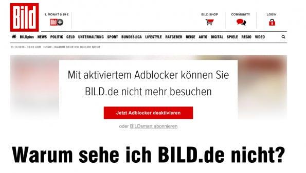 Warum sehe Bild.de nicht? Anti-Adblocker-Kampagne der BILD. (Screenshot: Bild.de)