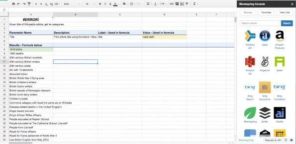 API-Übersicht in Google-Spreadsheet (Screenshot: Blockspring)