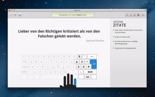 Die Chrome-App Type Fu will euch dabei helfen, all eure Finger beim Tippen zu benutzen. (Screenshot: Type Fu)
