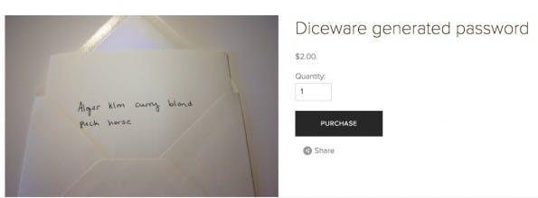 Das Diceware-Passwort erreicht den Kunden auf dem Postweg. (Screenshot: Dicewarepasswords.com)
