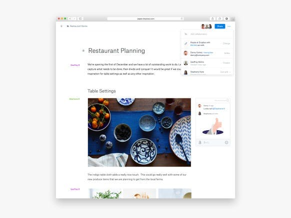 Dropbox Paper bietet Teams einige interessante Features. (Screenshot: Product Hunt)