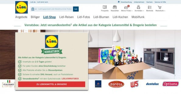 E-Commerce-News: Mit den Vorratsboxen will Discounter Lidl Amazon Konkurrenz machen. (Screenshot: Lidl)