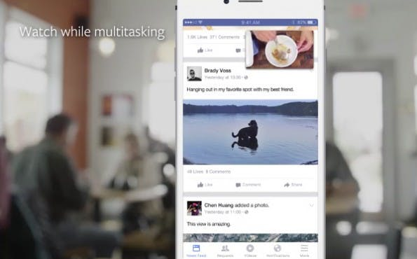 Floating Screen auf Facebook. Nutzer können Videos im Newsfeed verankern, während sie weiter scrollen. (Screenshot: Facebook)