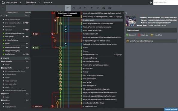 GitKraken: Der Git-Client mit grafischer Benutzeroberfläche unterstützt Linux, Windows und OS X. (Screenshot: Axosoft)
