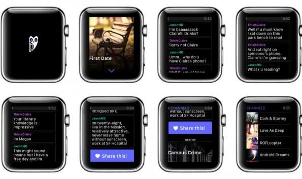 Hooked auf der Apple-Watch: ein ganz besonderes Leseerlebnis. (Screenshots: Hooked)