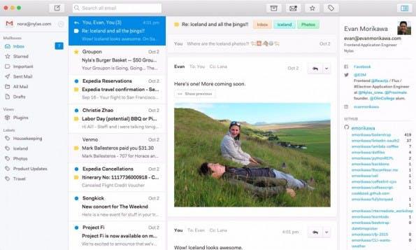 Der Open-Source-Mail-Client Nylas N1 kommt mit schickem Design. (Screenshot: Nylas)