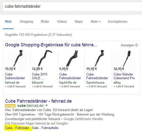 """Teure"" Sitelinks in ""günstigen"" Anzeigen. (Screenshot: Google)"