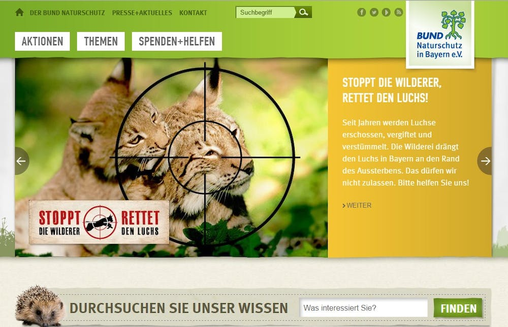 Die Gewinner-Website bei den TYPO3-Awards des BUND. (Screenshot: BUND)